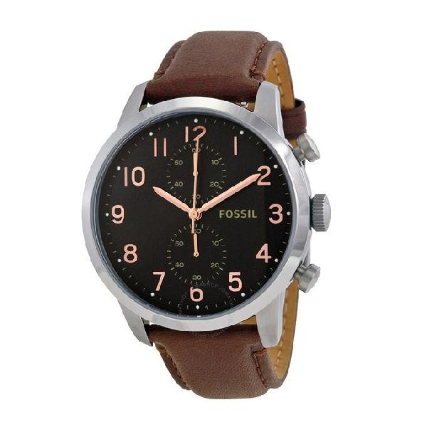 Fossil Leather Chronograph Watch for Men FS4873
