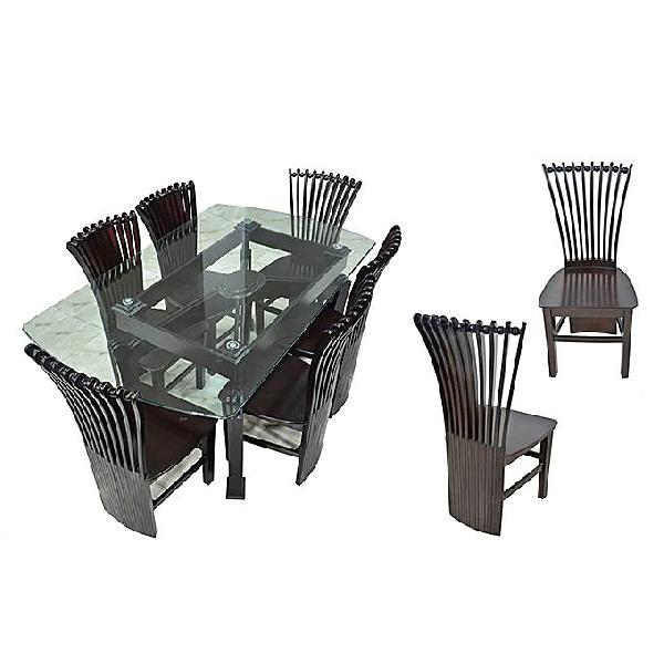 Nurjahan Furniture Canadian Processed Wood Peacock Design Dinning Set DI 126