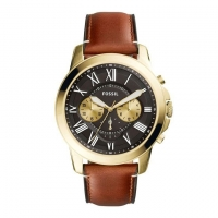 Fossil Leather Chronograph Watch For Men FS5297