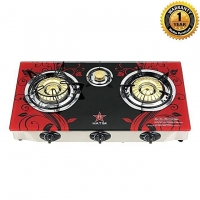 Hatim Glass Triple Burner LPG Gas Stove 36 HGR