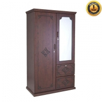 NADIA Furniture Solid Oak and Solid Mahogany 2 Shutter Gardenia Almirah NFL-C-0234-1