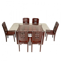 Nurjahan Furniture Canadian Processed Wood Slim Fit Dining Set with 6 Chair DI 112
