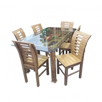 Nurjahan Furniture Malaysian Processed Wood Dining Set with 6 Chair DI 113
