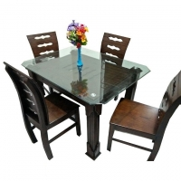 Nurjahan Furniture Oak Wood Dining Table With 4 Chair DI-48