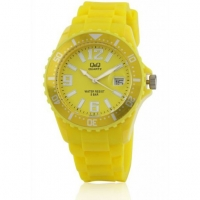 Q&Q Ladies Yellow Silicone Strap Watch A430J007Y