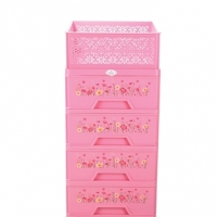 RFL Premium Closet 4 Drawer With Basket-Pink 917271