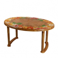 RFL Table 6 Seated Oval Plus Printed Sandal Wood 86252