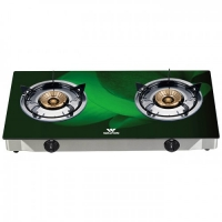 Walton Gas Stove  Glass Top Double Burner WGS-3GNS1 (NG) Green 3D