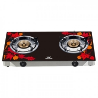 Walton Gas Stove Glass Top Double Burner WGS-GNS1 (NG) Maple Leaf