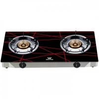 Walton Gas Stove Glass Top Double Burner WGS-GNS2 (NG) Black-Net
