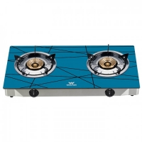 Walton Gas Stove  Glass Top Double Burner WGS-GNS2 (NG) Sky Blue-Net