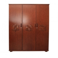 Wood Art Oak Wood and Oak Veneer 3 Doors Almirah HNZ-112-111-A-(42-820)