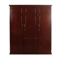 Wood Art Oak Wood and Oak Veneer 3 Doors Lotus Almirah P2(00-350)