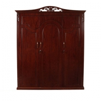 Wood Art Oak Wood and Oak Veneer 3 Doors Magnolia Almirah P2(00-360)