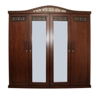 Wood Art Oak Wood and Oak Veneer 4 Door 3D Almirah GWF(00-390)
