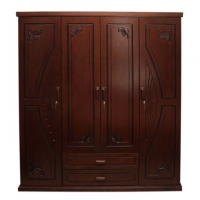 Wood Art Oak Wood and Oak Veneer 4 Doors Fantasy Almirah HNZ112-114-A4(49-618)