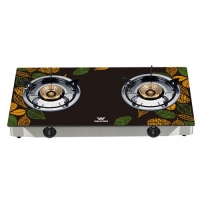 Walton Gas Stove Glass Top Double Burner WGS-GNS1 (NG) Leaf Sketch